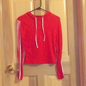 Red, long sleeve, slightly cropped, white details